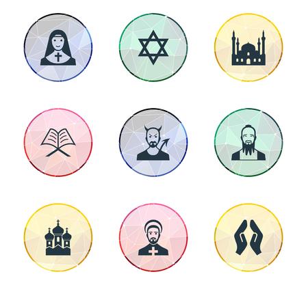 Vectorillustratiereeks Eenvoudige Godsdienstpictogrammen. Elementen Muslim, Devil, Taoism and Other Synoniemen Holy, Chaplain And Devil. Stock Illustratie