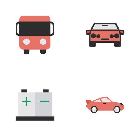 벡터 일러스트 레이 션 간단한 배송 아이콘의 집합입니다. 요소 쿠페, Autobus, Accumulator 및 기타 동의어 쿠페, 버스 및 요금.