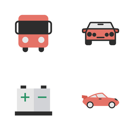 Vector Illustration Set Of Simple Shipping Icons. Elements Coupe, Autobus, Accumulator And Other Synonyms Coupe, Bus And Charge.