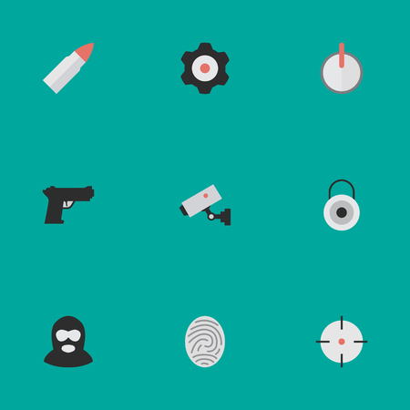 Vector Illustration Set Of Simple Offense Icons. Elements Target, Safe, Supervision And Other Synonyms Lock, Mechanical And Gun. Illustration