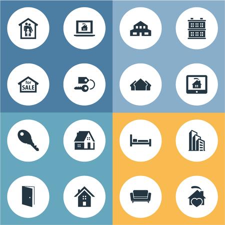 Vector Illustration Set Of Simple Property Icons Ilustração