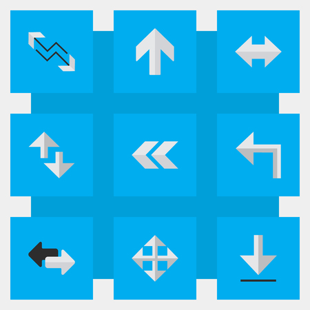 Vector Illustration Set Of Simple Arrows Icons. Elements Back, Loading, Cursor And Other Synonyms Export, Internet And Import. Ilustração