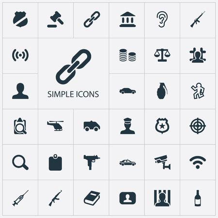 Vector Illustration Set Of Simple Fault Icons. Elements Person, Overhear, Policeman Star And Other Synonyms Patrol, Uzi And Document.