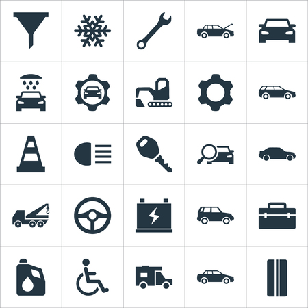 Vector Illustration Set Of Simple Auto Icons. Elements Truck, Snowflake, Auto And Other Synonyms Man, Handicapped And Water. Stock Photo