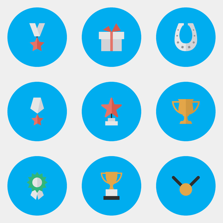 Elements Premium, Star, Metal And Other Synonyms Medal, Gift And Gold.  Vector Illustration Set Of Simple Trophy Icons.