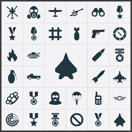 Elements Remuneration, Pickup, Grade And Other Synonyms Bullet, Artillery And Order.  Vector Illustration Set Of Simple Combat Icons. Illustration