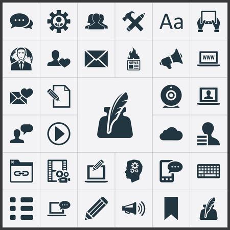 Elementos de difusión, Cedilla, amigo y otros sinónimos de difusión, nube y ganancias. Vector ilustración conjunto de iconos de usuario simple. Foto de archivo - 82691215