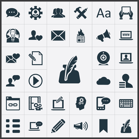 Elements Broadcast, Cedilla, Friend And Other Synonyms Broadcast, Cloud And Earnings.  Vector Illustration Set Of Simple User Icons. Stok Fotoğraf - 82691215