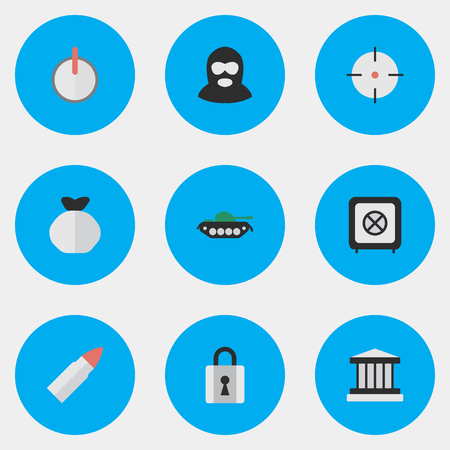 Vector Illustration Set Of Simple Crime Icons. Elements Safe, Grille, Closed And Other Synonyms Safe, Vault And Armored.
