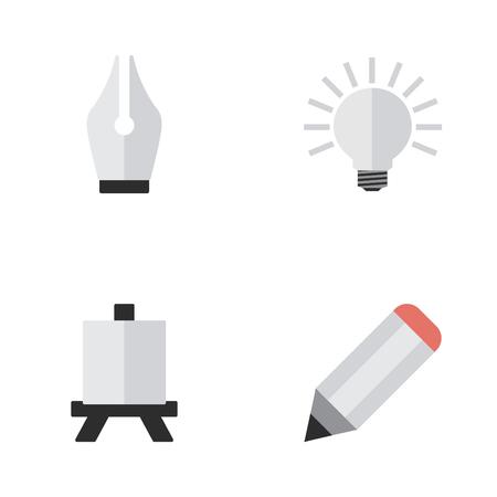 簡単な教育アイコンのベクター イラスト セット。他の類義語鉛筆、ペン先、電球要素イーゼル イーゼルと絵画。  イラスト・ベクター素材