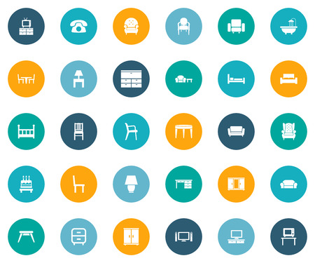 Vector Illustration Set Of Simple Furniture Icons. Elements Telly, Illuminator, Bearings And Other Synonyms Tub, Folding And Bath.