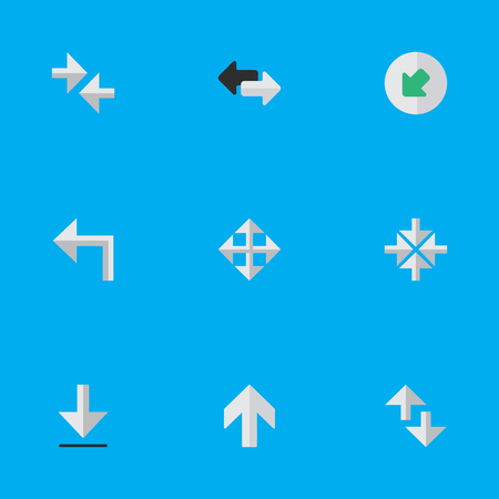 Vector Illustration Set Of Simple Pointer Icons. Elements Upwards, Inside, Export And Other Synonyms Enlarge, Northwestward And Export.