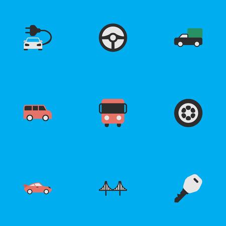 요소 가족, 열기, 쿠 페 및 기타 동의어 방향, 점퍼 및 키입니다. 벡터 일러스트 레이 션 간단한 교통 아이콘의 집합입니다.