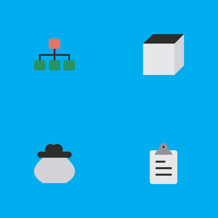 Elements Wallet, Clipboard, Structure And Other Synonyms Wallet, Money And Rubik.  Vector Illustration Set Of Simple Job Icons. Ilustracja