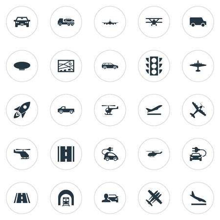 Elements Evacuator, Blimp, City Plan And Other Synonyms Downgrade, Van And Ecological.  Vector Illustration Set Of Simple Transportation Icons.
