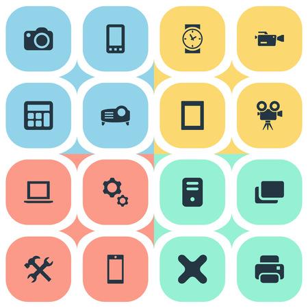 Elements-Kamera, Smartphone, Touch-Computer und andere Synonyme Kamera, Fotograf und Laptop. Vektor-Illustrations-Satz einfache Gerät-Ikonen. Standard-Bild - 82689233