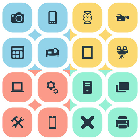 Elements Camera, Smartphone, Touch Computer And Other Synonyms Camera, Photographer And Laptop.  Vector Illustration Set Of Simple Device Icons. Illustration