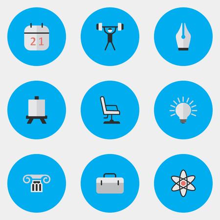 要素のブリーフケース、ニブ、電球や類義語のスーツケース、核ボディービル。 単純な知識アイコンのベクター イラスト セット。