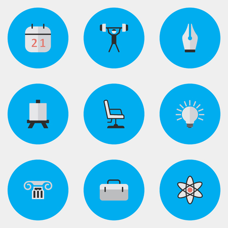 Elements Briefcase, Nib, Bulb And Other Synonyms Suitcase, Nuclear And Bodybuilding.  Vector Illustration Set Of Simple Knowledge Icons. Çizim