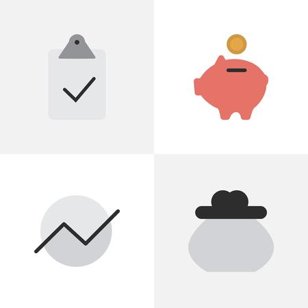 Gedaan met elementen, portemonnee, spaarpot en andere synoniemenportefeuille, piggy en groei. Vectorillustratiereeks Eenvoudige Bedrijfspictogrammen.