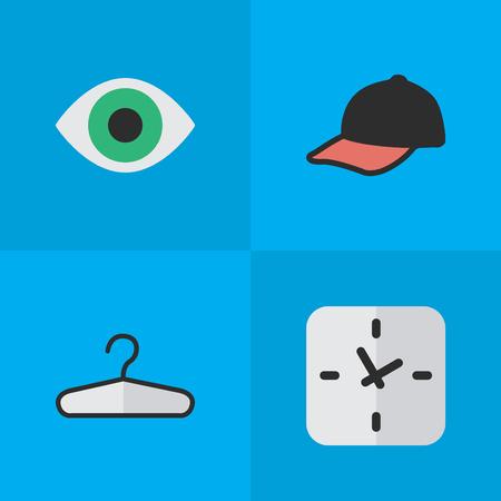 요소 스포츠 모자,보기, 옷 걸이 및 다른 동의어 시간, 옷 및 후크입니다. 벡터 일러스트 레이 션 간단한 장비 아이콘의 집합입니다.