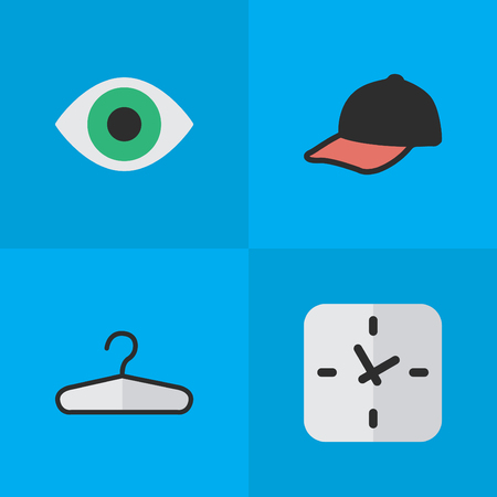 appliances: Elements Sport Hat, View, Clothes Hook And Other Synonyms Time, Clothes And Hook.  Vector Illustration Set Of Simple Equipment Icons.