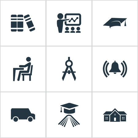 Elements Cap, School, Bell And Other Synonyms Alma, Publicity And Cap.  Vector Illustration Set Of Simple Education Icons. Stock Vector - 82689249