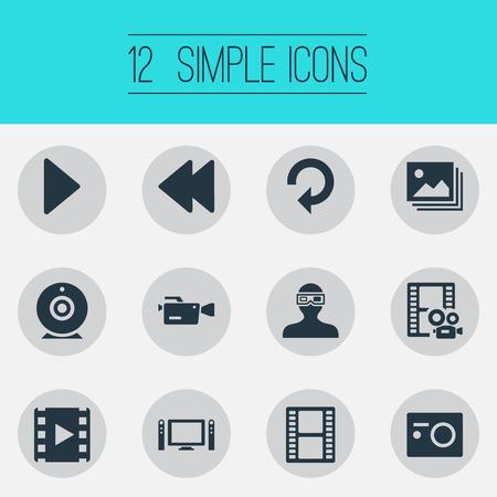 Elements Update, Movie, Image And Other Synoniemen Rearward, Reel And Cam. Vector illustratie Set van eenvoudige media iconen.