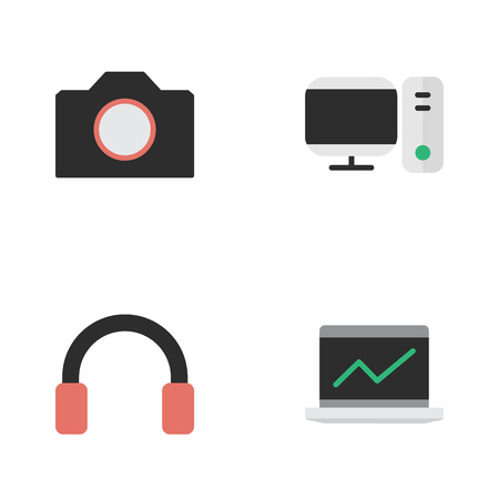 Elements Notebook, Photo Apparatus, PC And Other Synonyms Statistics, Headphone And Earphone.  Vector Illustration Set Of Simple Devices Icons. Illustration