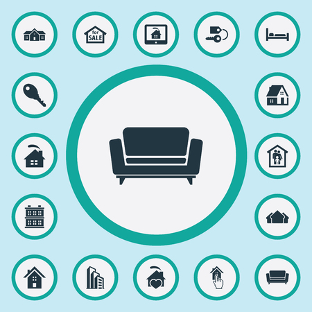 Elements Lock, Bed, Sale And Other Synonyms Hut, Furniture And Hostel.  Vector Illustration Set Of Simple Property Icons.