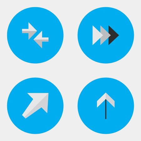 エクスポートと他の同義語、アップと南西の前方を要素を通過して南西。 単純なインジケーター アイコンのベクター イラスト セット。