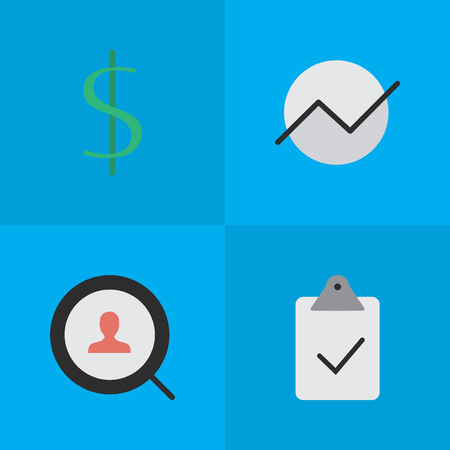 Elements Diagram, Magnifier, Dollar And Other Synonyms Dollar, Diagram And Done.  Vector Illustration Set Of Simple Business Icons. Illustration