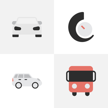 Elements Autobus, Suv, Speedometer And Other Synonyms Counter, Bus And Delivery.  Vector Illustration Set Of Simple Traffic Icons.
