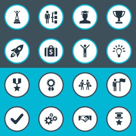 Léments Médaille militaire, engrenages, innovation et autres synonymes, médaille, armée et argent. Illustration vectorielle définie des icônes simples de champion. Banque d'images - 82689265