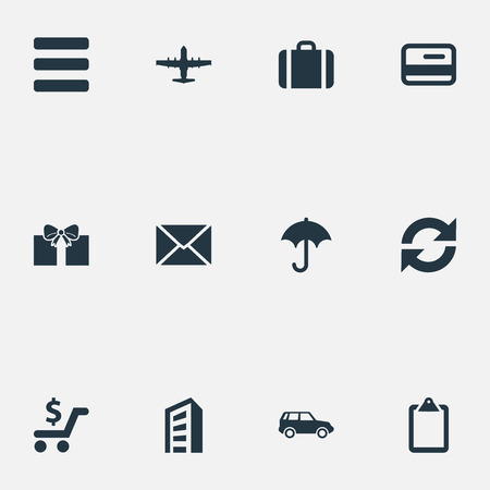 Vector Illustration Set Of Simple Distribution Icons. Elements Envelope, Online Transaction, Plane And Other Synonyms Car, Repeatability And Skyscraper.