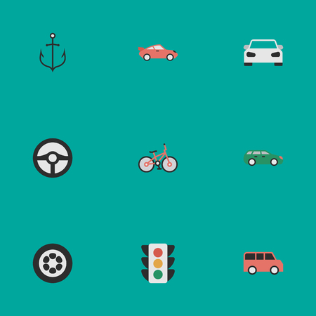 Vector Illustration Set Of Simple Shipping Icons. Elements Family, Sedan, Steering And Other Synonyms Sport, Lighter And Coupe.