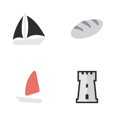 Vector Illustration Set Of Simple Holiday Icons. Elements Schooner, Bakery, Tower And Other Synonyms Bread, Tower And Castle. Illustration