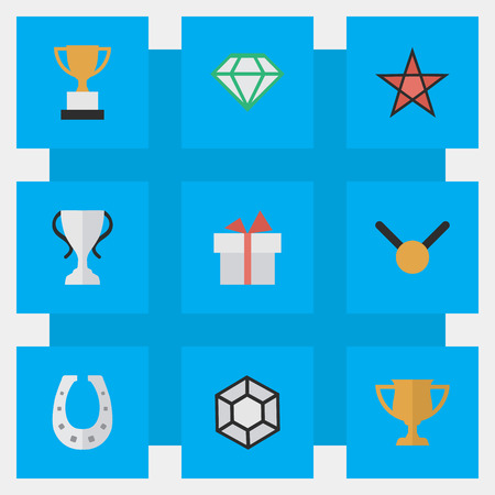 Vector Illustration Set Of Simple Prize Icons. Elements Metal, Award, First And Other Synonyms Brilliant, Metal And Medal.