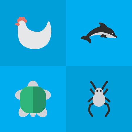 Vectorillustratiereeks Eenvoudige Dierentuinpictogrammen. Elementen Schildpad, Haan, Tarantula en Andere Synoniemen Schildpad, Grampus en Vis.