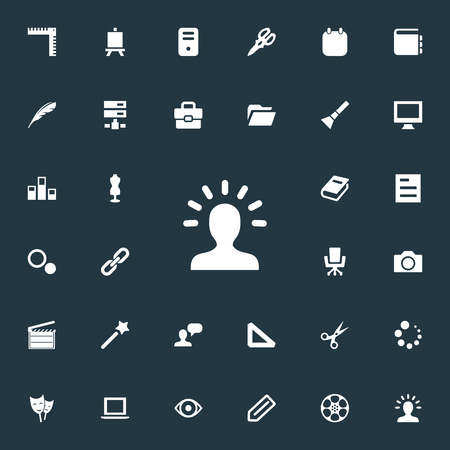 Vector Illustration Set Of Simple Icon Icons. Elements Colums Graph, Action, Poetry And Other Synonyms Reel, Encyclopedia And Man.
