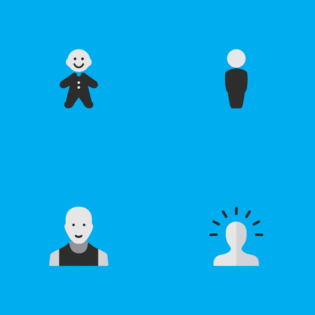 Vector Illustration Set Of Simple Profile Icons. Elements Contour, Man, Person And Other Synonyms Child, Male And Man. Ilustrace