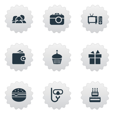 Vector Illustration Set Of Simple Vacation Icons. Elements Birthday Dessert, Surprise , Sandwich Synonyms Photo, Present And Cake. Illustration