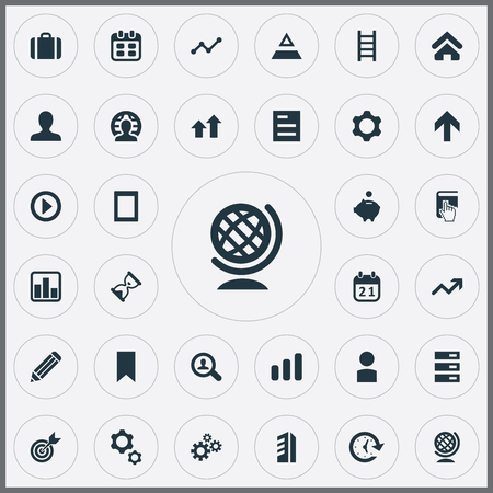 Vector Illustration Set Of Simple Startup Icons. Elements Sandglass, Database, Gadget Synonyms Figure, Pyramid And Triangle.