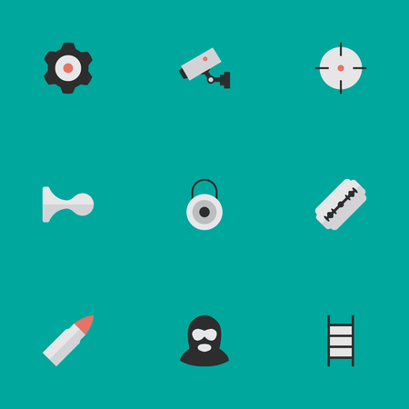 Vector Illustration Set Of Simple Criminal Icons. Elements Hunting, Lock, Target And Other Synonyms Key, Gear And Deer.
