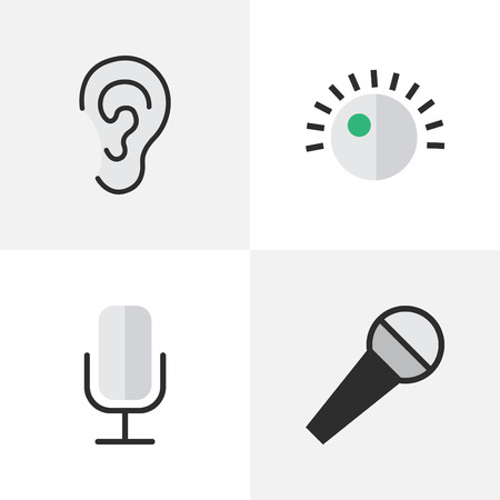 Vector Illustration Set Of Simple Sound Icons. Elements Regulator, Record, Mike And Other Synonyms Mic, Regulator And Listen.
