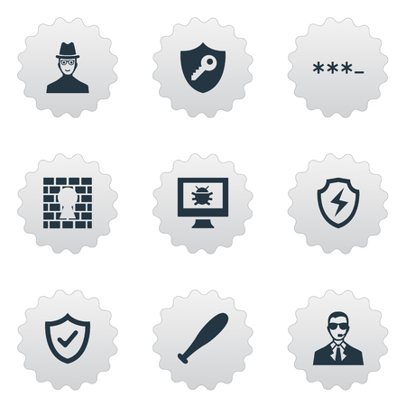 Vector Illustration Set Of Simple Safety Icons. Elements Virus, Under Protection, Conservation And Other Synonyms Approve, Okay And Protection.