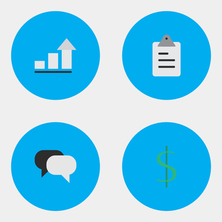 Vector Illustration Set Of Simple Business Icons. Elements Clipboard, Dollar, Talking And Other Synonyms Increase, Growing And Clipboard.
