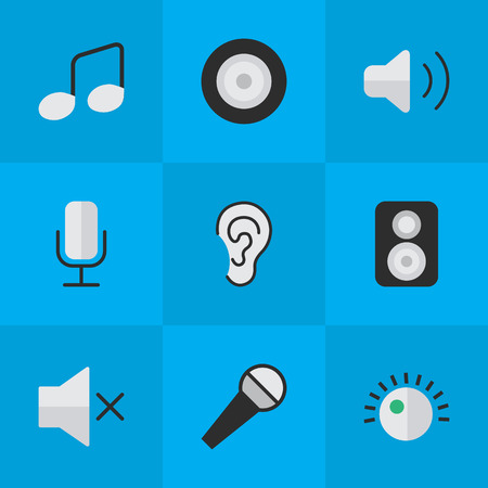 Vector Illustration Set Of Simple Sound Icons. Elements Volume, Regulator, Listen And Other Synonyms Regulator, Record And Sound. Illustration