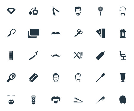 Vector Illustration Set Of Simple Hairdresser Icons. Elements Looking-Glass, Bottle, Comb And Other Synonyms Gem, Straight And Hipster.