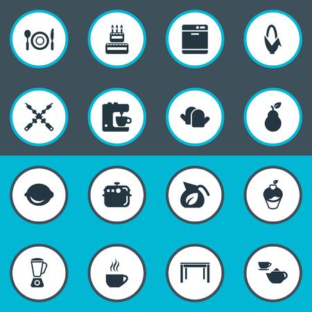 Ilustración vectorial Conjunto De Iconos De Gastronomía Simple. Vaso De Los Elementos, Cal, Tetera De Cerámica Y Otros Sinónimos Cal, Té Y Conjunto. Foto de archivo - 82740429